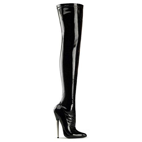Stiletto Lack Overknee, Damen, Schwarz (schwarz) Schwarz (Schwarz)