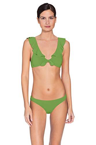 Robin Piccone Women's Ava Ruffle Bikini Top Spring Green L