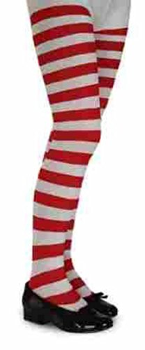 Red Striped Pants Costume (Children's Striped Tights Hosiery - Large)
