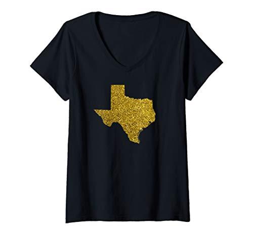 Womens Texas map Gold Sparkle shiny bright Shirts  V-Neck -