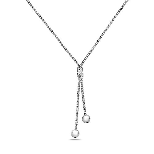 - Pori Jewelers 925 Sterling Silver Tassel Ball Lariat Necklace - 18