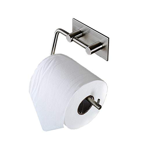 Zeta SUS 304 Stainless Steel Self-Adhesive Toilet Paper Holder Bathroom Kitchen Tissue Roll Hanger Wall Mount No Drill Modern Style, Brushed Finish
