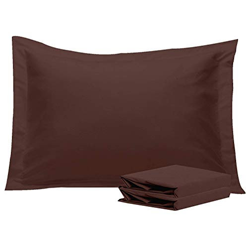 NTBAY Standard Pillow Shams, Set of 2, 100% Brushed Microfiber, Soft and Cozy, Wrinkle, Fade, Stain Resistant (Standard, - Standard Sham Chocolate
