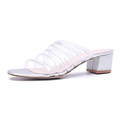KJJDE Zapatos con Plataforma Mujeres WSXY-L0408 Tacones Medio Sandalias Mujer Zapatilla Chanclas de Moda Confort Peep Toe Tacón Zapatos Para Caminar Silver