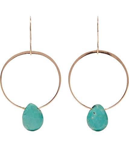 Melissa Joy Manning 14k Gold Turquoise Single Drop - Manning Earrings Aquamarine Melissa Joy