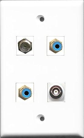 RiteAV - 2 puerto RCA azul y 1 puerto Cable Coaxial TV- Coaxial y 1 puerto BNC placa de pared: Amazon.es: Electrónica