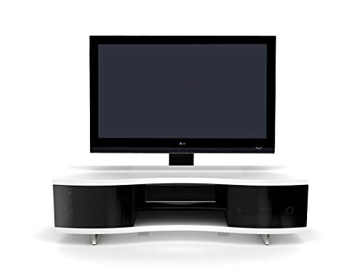 BDI 8137 SW Ola Triple Wide Curved TV Stand & Media Cabinet, Satin White