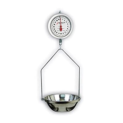 Detecto MCS-40DF Hanging Dial Scale, 40 lb. Capacity, Fish Pan, Double Dial