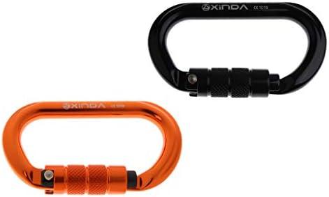 Toygogo 2個入り カラビナ ロックカラビナ クライミングカラビナ 自動ロック Oリング 25kn 登山 装置