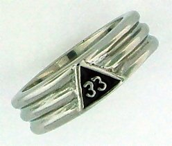 33rd Degree Stainless Steel ring layered in Rhodium size: 15