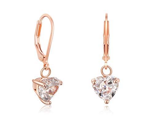 Buyless Fashion Girls And Women Dangle Earrings Rose Gold CZ Fashion Jewelry - EDGRSGHRT (Gold Heart Hanging)