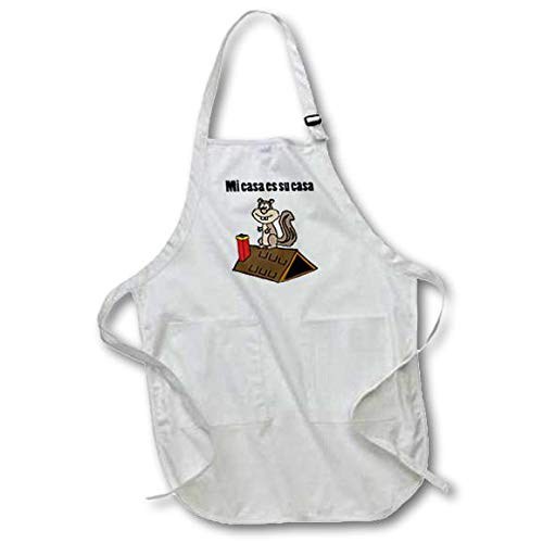 with Pockets 22 x 30 White 3D Rose Funny Squirrel On Roof Says Mi ES Su Casa Full Length Apron