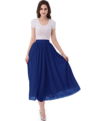 emondora Women's Chiffon Long A-Line Retro Skirts Pleated Beach Maxi Skirt Royal Blue Size XL -