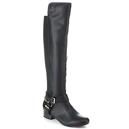 Womens Flat Pirate Boots (Criss Cross Two-tone Ankle Strap Side Zip Knee High Vegan Equestrian Pirate Boots)
