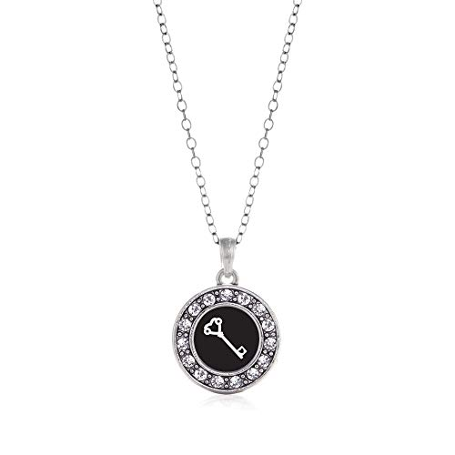 Inspired Silver - Heart Shaped Key Charm Necklace for Women - Silver Circle Charm 18 Inch Necklace with Cubic Zirconia Jewelry