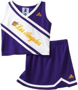 [Los Angeles Lakers 2 pc Cheerleader Outfit Young Kids Size Medium 5 / 6 Girls Kids - NBA For Her] (Cheerleader Outfit For Girls)