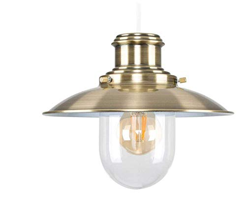 (Ceiling Lights Lamps Chandeliers Pendant Light Fixtures Antique Brassed Effect Metal and Glass Fisherman's Vintage Style Steampunk Lantern Easy Fit Ceiling Lamp Pendant for Bedroom Living Room Kitche)