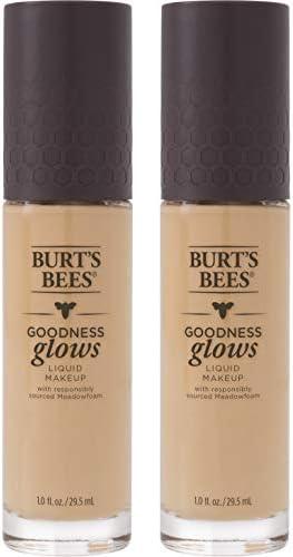 Burt's Bees Goodness Glows Liquid Makeup, Linen Beige - 1.0 Ounce (Pack of 2)