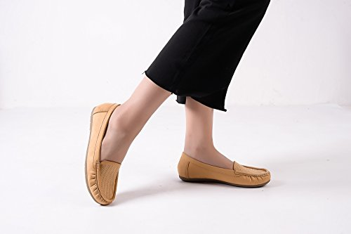 Driving tan On Moccasins Lady Flats 1 Loafer Casual Mlia Shoes Womens amp; suede Slip Walking wnOxqW81