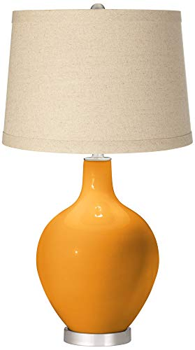 Carnival Oatmeal Linen Shade OVO Table Lamp - Color + Plus