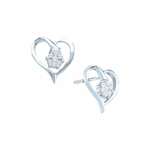 1/6 Total Carat Weight ROUND DIAMOND LADIES HEART EARRINGS by Jawa Fashion
