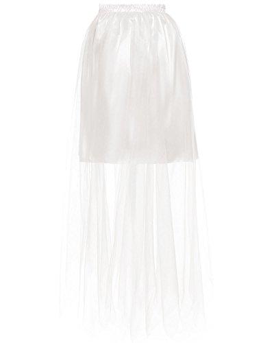 DYS Women's Long Petticoat Skirt Hoopless Satin Slip Sheer Mesh Full Length Ivory L/XL -
