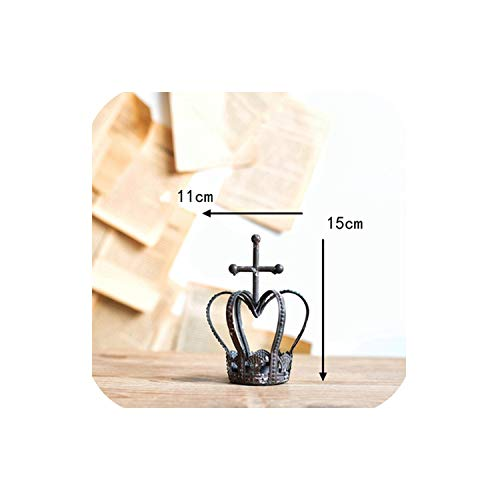 Beautiful Decor Vintage Antique Crown Hanging Metal tealight Candle Holder,Dark Gray B