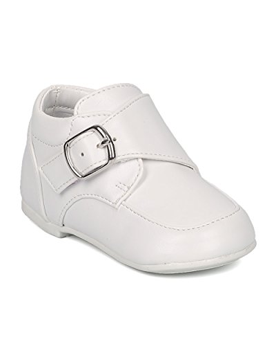 Boys Leatherette Uniform Shoe - (Infant Boy / Toddler Boy) - Buckle Velcro Loafer - GH27 By Auston - White (Size: Infant 3)
