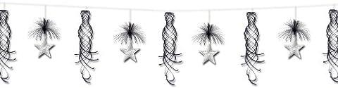 Beistle 1-Pack Star Shimmer Garland, 10-Feet, Black and Silver - Shimmer Spiral