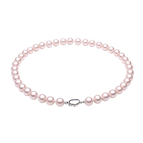 South Sea Shell Pearl Beaded Strand Necklace Choker with Platinum Plated Copper Clasp Silver Tone (Pink Shell Pearl Necklace)