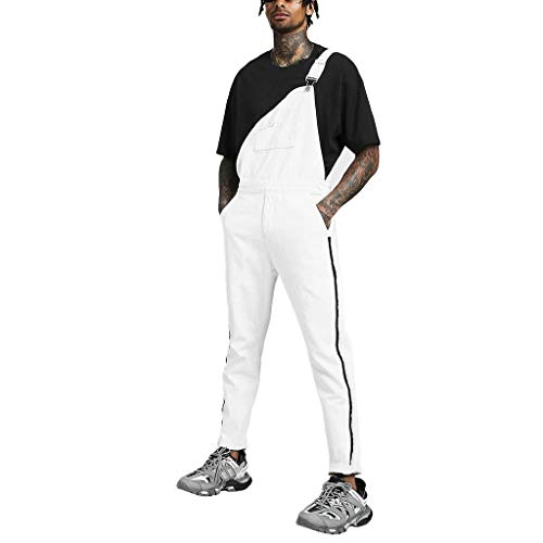 Men's Bib Overalls 2019 New Casual Fashion Jumpsuit Trousers Suspender Pants (Asian Size:XL, White) (Best Hunting Bibs 2019)