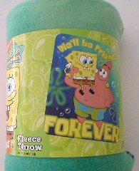Nick Jr Patrick & Spongebob Fleece Blanket - Friends Forever fleece throw