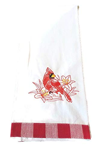 Cardinal Embroidered Kitchen Towel, Kitchen Decor