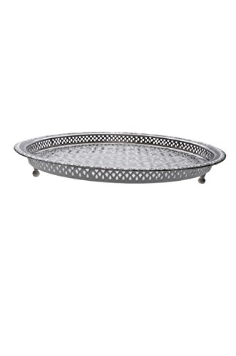 Oriental Orient Moroccan Indian Brass Tea serving Tray - Nadia 18.5 Inches - silver colored ()