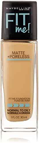 Maybelline New York Fit Me Matte Plus Pore Less Foundation Makeup, Natural Buff, 1 Fluid Ounce