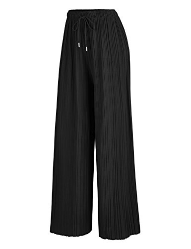 Made By Johnny WB1484 Womens Pleated Wide Leg Palazzo Pants With Drawstring Onesize Black - Wide Leg Palazzo Pants