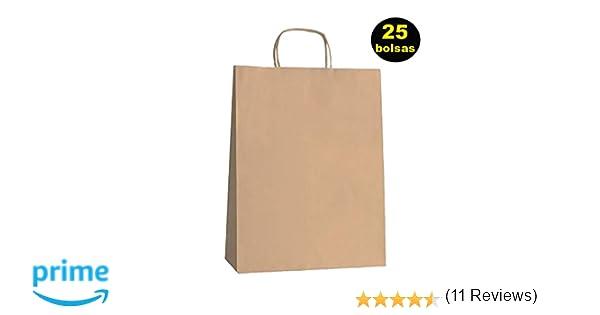 Yearol K01 25 Bolsas papel kraft con asa rizada reutilizables. 30 * 22 * 9 Navidad, regalos, eventos, bodas, cumpleaños, comercio, compra, venta, ...