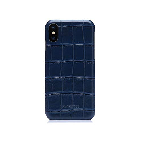 BeyzaCases Croco Series Handmade Genuine Leather Case for iPhone X/XS [Navy]