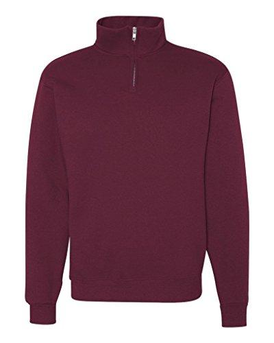 Jerzees 995 Adult NuBlend 1 By 4-Zip Cadet Collar Sweatshirt - Maroon, Small