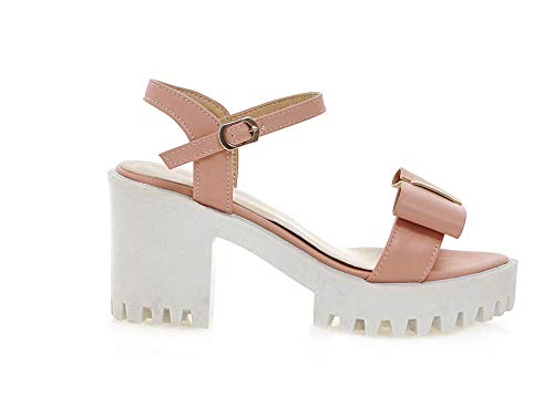 PU Buckle Pink Toe High Solid CCALO012897 Open Women's Heels VogueZone009 Sandals ExgT0qPAq