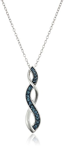 Sterling Silver Montana Blue Twisted Pendant Necklace Made with Swarovski Crystal (18