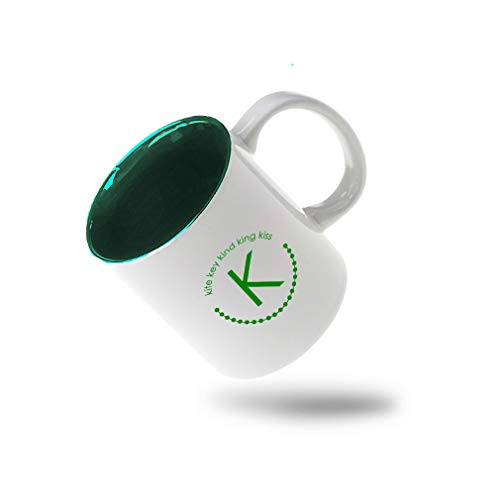 Forest Green Alphabet K, Kite Key Kind King Kiss Ceramic Inner Color Cup Coffee Mug - Green