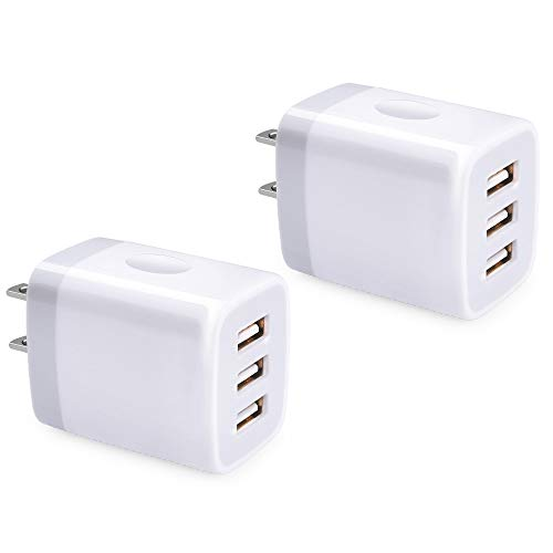 USB Wall Charger, 3 Port USB Charger, 5V 3.1A 2PC Multi-Port Travel USB Wall Plug Cube Compatible with iPhone X 8 7 Plus, Samsung Note 9 S9 S8 Note 8, LG V35 THINQ Q7 G7, Huawei, Moto, Nokia and More