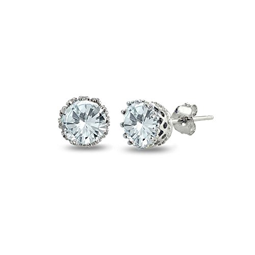(Sterling Silver Simulated Aquamarine Crown Stud)