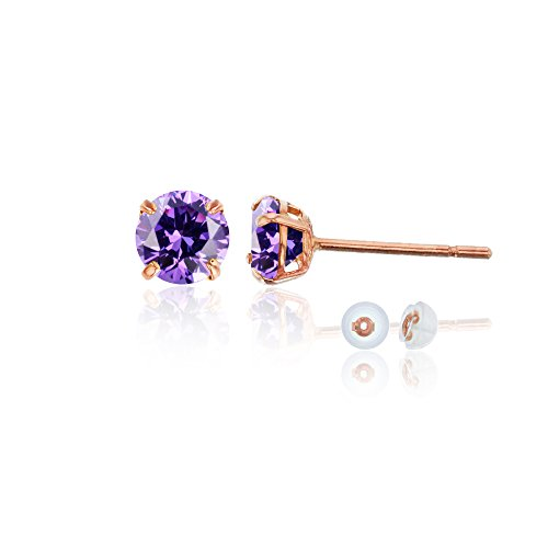 14K Rose Gold 4mm Round Amethyst Stud Earring