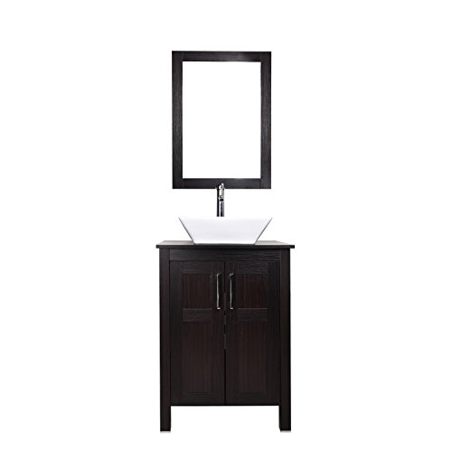 24 Inches Traditional Bathroom Vanity with Ceramic Porcelain Sink Top, Wood Single Vessel Sink Bowl Faucet Mirror Set