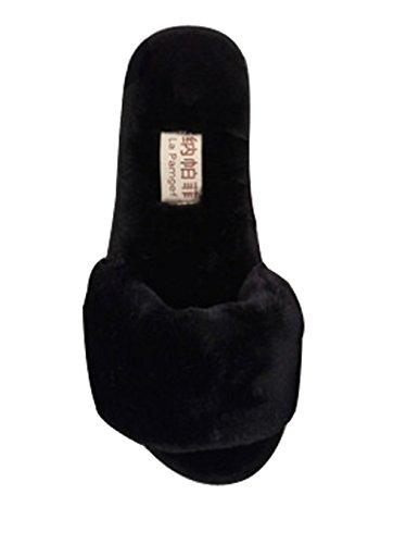 Cattior Womens Furry Open Toe Ladies Pantofole Pantofole Da Camera Nere