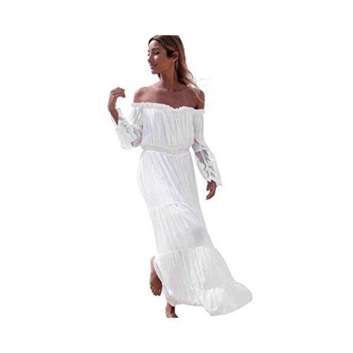 JUNHONGZHANG Las Mujeres Boho Vestido Bustier Maxi Damas De Verano De Manga Larga Playa Puntilla Sundress Womens Casual Vestidos Blancos: Amazon.es: ...