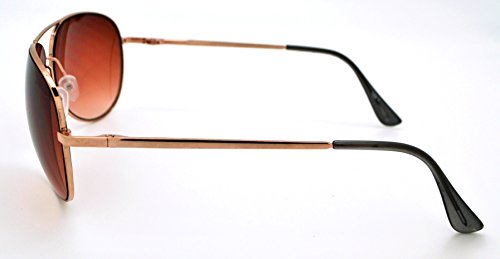W et pour microfibre Lens étui gratuit homme qualité classique femme haute Gold Frame Aviator Lunettes tendance soleil pour Vox léger de Brown qABY1w6