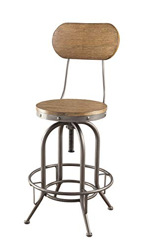 Adjustable Bar Stools with Wood Back and Seat Graphite and Weathered Oak Set of 2